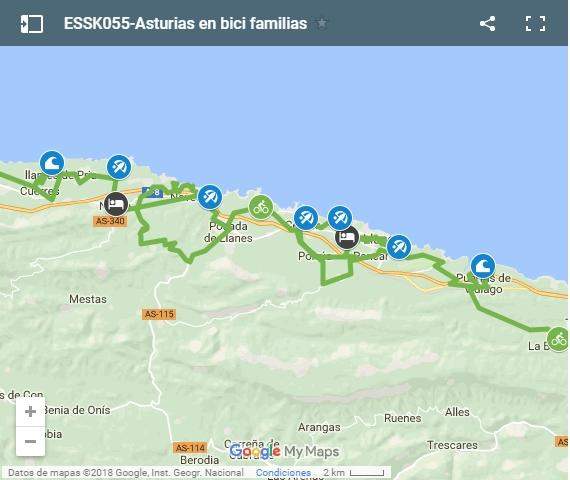 Map piste cyclable en famille Asturies